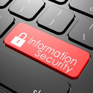 Information security keyboard image with hi-res rendered artwork that could be used for any graphic design.